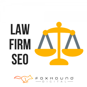 Image of blog post law firm seo with scales of justice